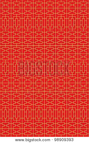 Golden seamless Chinese window tracery lattice square geometry line pattern.