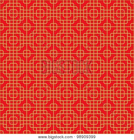 Seamless Chinese window tracery round corner square cross line pattern.