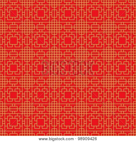 Seamless Chinese window tracery square geometry cross line pattern.