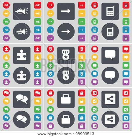 Trumped, Arrow Right, Mobile Phone, Puzzle Part, Medal, Chat Bubble, Chat, Lock, Share Icon Symbol.