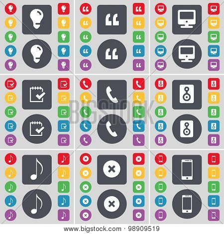 Light Bulb, Quotation Mark, Monitor, Survey, Receiver, Speaker, Note, Stop, Smartphone Icon Symbol.