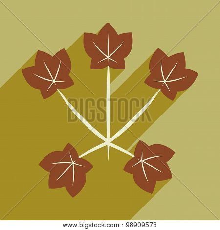 Flat with shadow icon and mobile application maple leaves