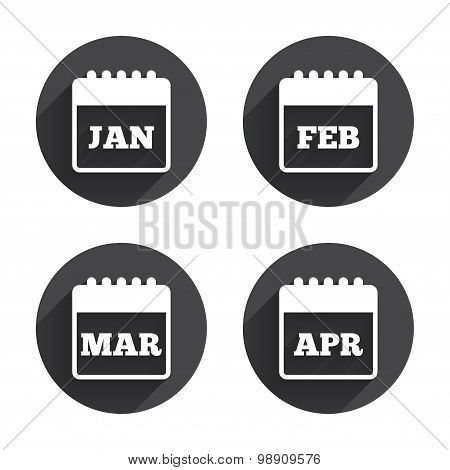 Calendar. January, February, March and April.