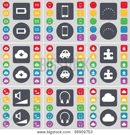 Battery, Smartphone, Stars, Cloud, Car, Puzzle Part, Volume, Headphones Icon Symbol. A Large Set Of