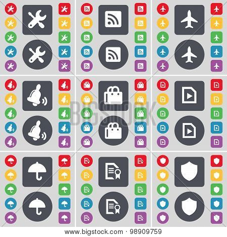 Wrench, Rss, Airplane, Bell, Shopping Cart, Media File, Umbrella, Text File, Badge Icon Symbol. A La