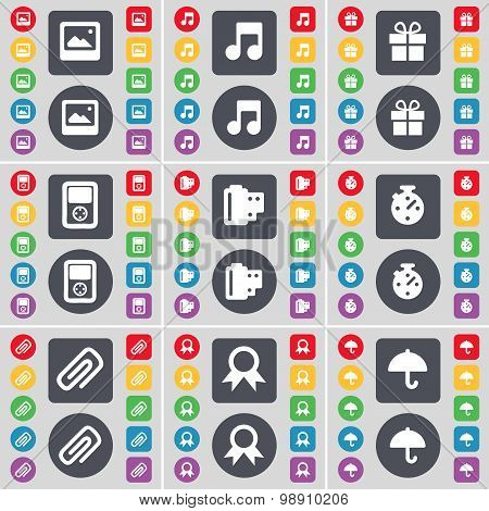 Media Window, Note, Gift, Player, Negative Films, Stopwatch, Clip, Medal, Umbrella Icon Symbol. A La