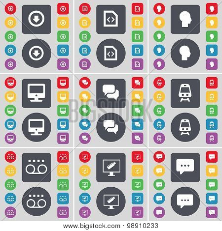 Arrow Down, File, Silhouette, Monitor, Chat, Train, Cassette, Monitor, Chat Bubble Icon Symbol. A La