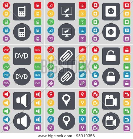 Mobile Phone, Monitor, Socket, Dvd, Clip, Lock, Sound, Checkpoint, Film Camera Icon Symbol. A Large