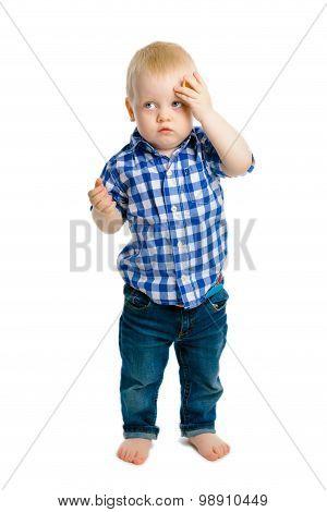 Baby Boy On A White Background. Headache