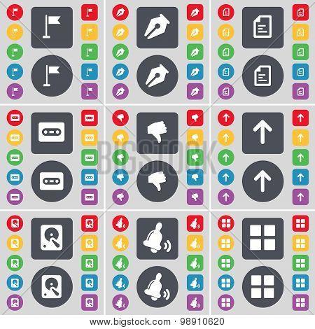Golf Hole, Ink Pen, Text File, Cassette, Dislike, Arrow Up, Hard Drive, Bell, Apps Icon Symbol. A La