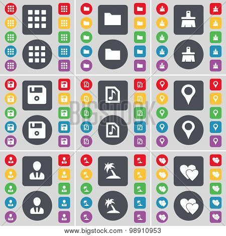 Apps, Folder, Brush, Floppy, Music File, Checkpoint, Avatar, Palm, Heart Icon Symbol. A Large Set Of