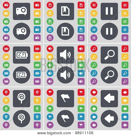 Projector, File, Pause, Charging, Sound, Magnifying Glass, Lollipop, Flag, Arrow Left Icon Symbol. A