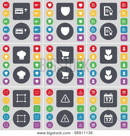 Cassette, Badge, Text File, Cooking Hat, Shopping Cart, Flower, Frame, Warning, Calendar Icon Symbol