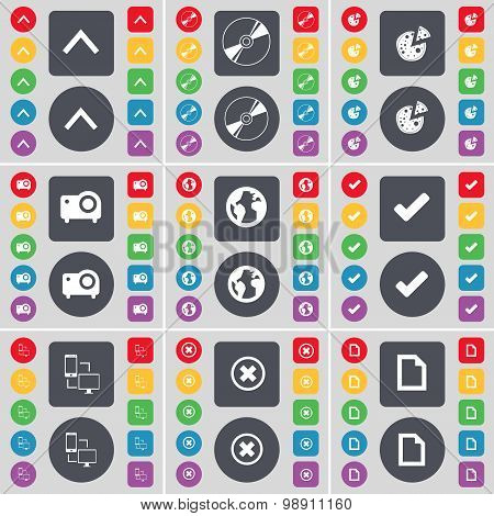 Arrow Up, Disk, Pizza, Projector, Earth, Tick, Connection, Stop, File Icon Symbol. A Large Set Of Fl