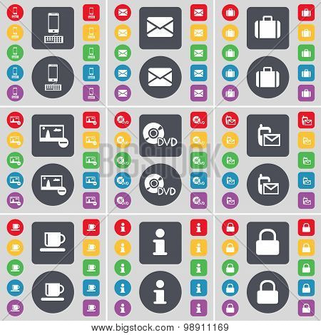 Smartphone, Message, Suitcase, Picture, Dvd, Sms, Cup, Information, Lock Icon Symbol. A Large Set Of