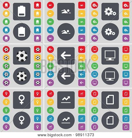 Battery, Silhouette, Gear, Ball, Arrow Left, Monitor, Venus Symbol, Graph, File Icon Symbol. A Large