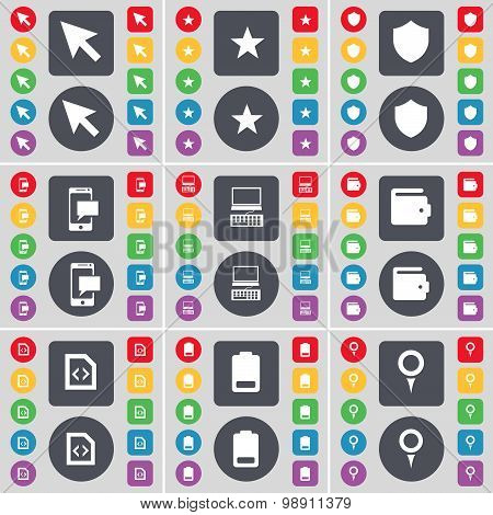 Cursor, Star, Badge, Sms, Laptop, Wallet, File, Battery, Checkpoint Icon Symbol. A Large Set Of Flat