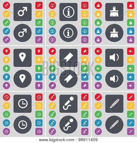 Mars Symbol, Information, Brush, Checkpoint, Marker, Sound, Clock, Microphone, Pencil Icon Symbol. A