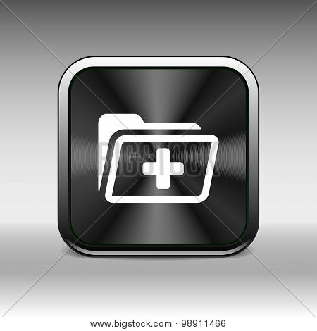 Medical health record folder flat icon for healthcare