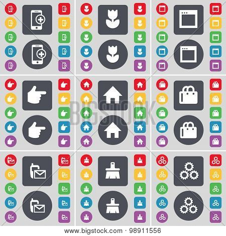 Smartphone, Flower, Window, Hand, House, Shopping Bag, Sms, Brush, Gear Icon Symbol. A Large Set Of