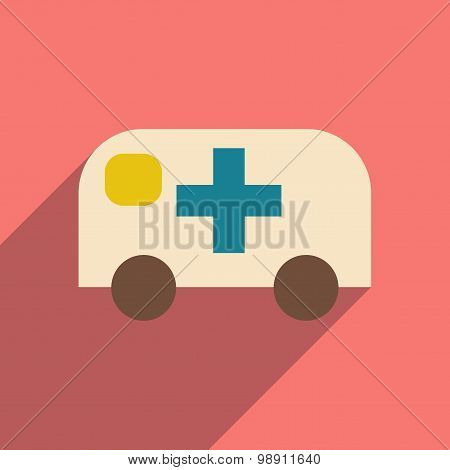 Flat with shadow icon and mobile application ambulance emergency