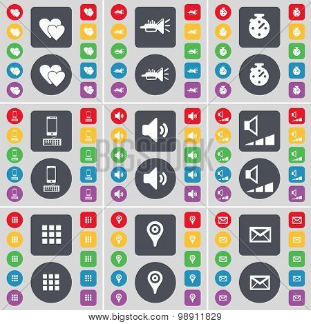 Heart, Trumped, Stopwatch, Smartphone, Sound, Volume, Apps, Checkpoint, Message Icon Symbol. A Large