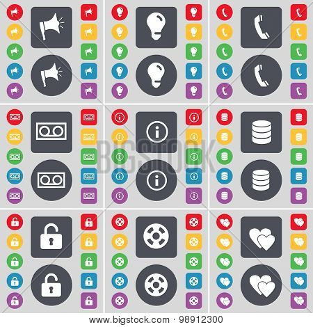 Megaphone, Light Bulb, Receiver, Cassette, Information, Database, Lock, Videotape, Heart Icon Symbol