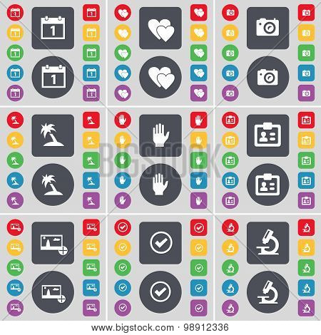 Calendar, Heart, Camera, Hand, Contact, Picture, Tick, Microscope Icon Symbol. A Large Set Of Flat,