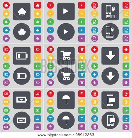Maple Leaf, Media Play, Smartphone, Battery, Shopping Cart, Arrow Down, Charging, Umbrella, Sms Icon