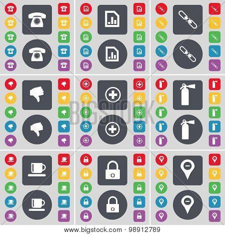 Retro Phone, Diagram File, Link, Dislike, Plus, Fire Extinguisher, Cup, Lock, Checkpoint Icon Symbol