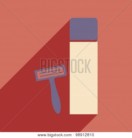 Flat with shadow icon and mobile application shaving kit