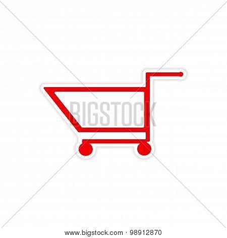 icon sticker realistic design on paper trolley