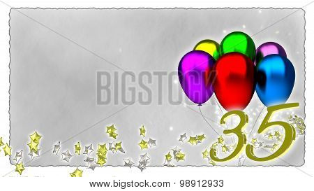 birthday concept with colorful baloons - 35th