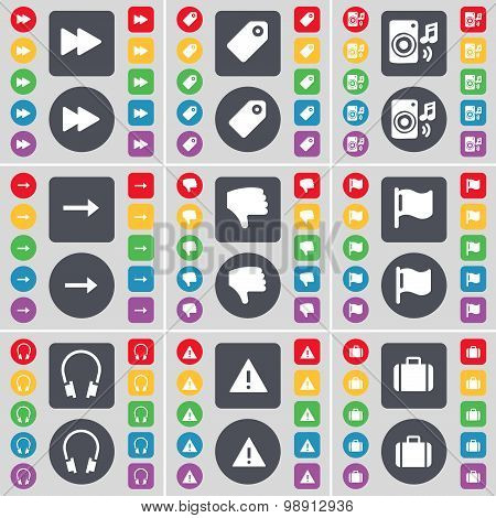 Rewind, Tag, Speaker, Arrow Right, Dislike, Flag, Headphones, Warning, Suitcase Icon Symbol. A Large