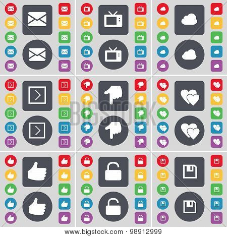 Message, Retro Tv, Cloud, Arrow Right, Hand, Heart, Like, Lock, Floppy Icon Symbol. A Large Set Of F