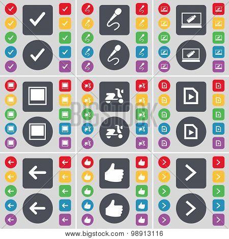 Tick, Microphone, Laptop, Window, Scooter, Media File, Arrow Left, Like, Arrow Right Icon Symbol. A