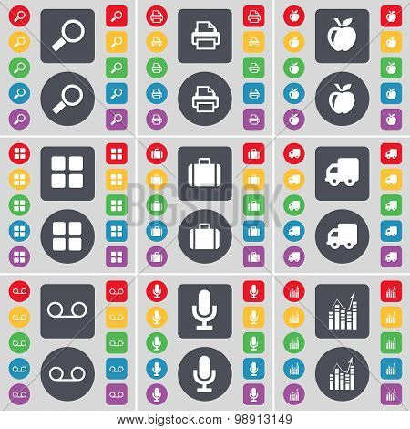 Magnifying Glass, Printer, Apps, Apps, Suitcase, Truck, Cassette, Microphone, Graph Icon Symbol. A L