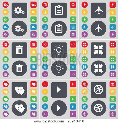 Gear, Survey, Airplane, Trash Can, Light Bulb, Deploying Screen, Heart, Media Play, Ball Icon Symbol