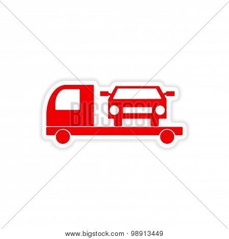 icon sticker realistic design on paper tow truck car