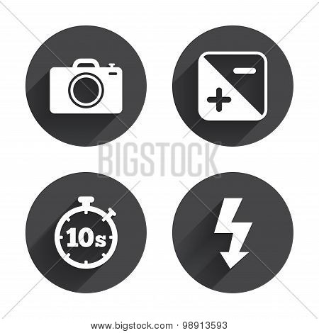 Photo camera icon. Flash light and exposure.
