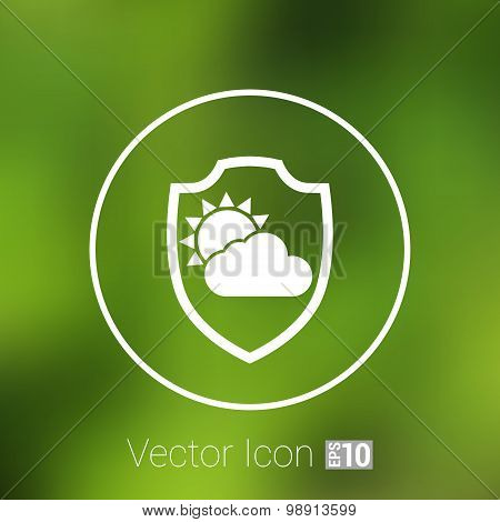 rainy weather icon with clouds and umbrella vector.