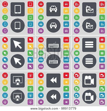 Tablet Pc, Camera, Sms, Cursor, Keyboard, Apps, Monitor, Rewind, Film Camera Icon Symbol. A Large Se