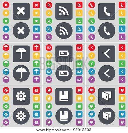 Stop, Rss, Receiver, Umbrella, Battery, Arrow Left, Gear, Dictionary, Wallet Icon Symbol. A Large Se