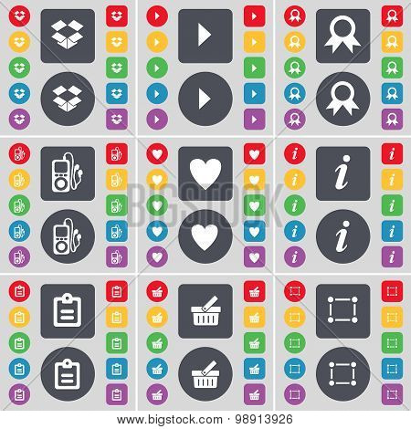 Dropbox, Media Play, Medal, Mp3 Player, Heart, Information, Survey, Basket, Frame Icon Symbol. A Lar