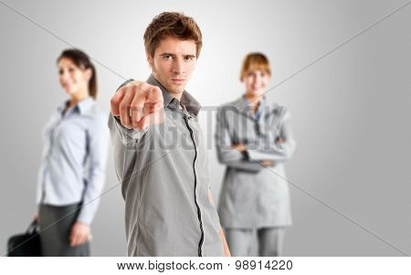 Man pointing his finger to you
