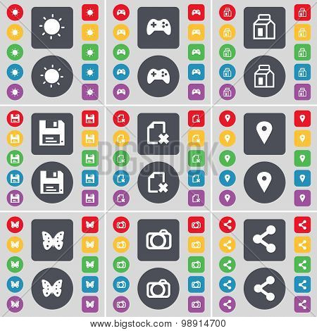 Light, Gamepad, Packing, Floppy, File, Checkpoint, Butterfly, Camera, Share Icon Symbol. A Large Set