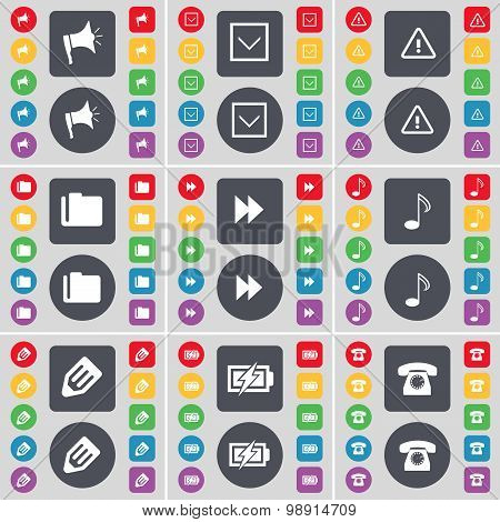 Megaphone, Arrow Down, Warning, Folder, Rewind, Note, Pencil, Charging, Retro Phone Icon Symbol. A L