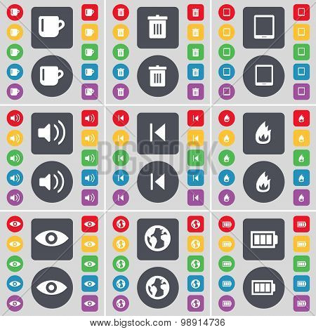 Cup, Trash Can, Tablet Pc, Sound, Media Skip, Fire, Vision, Eart Icon Symbol. A Large Set Of Flat, C