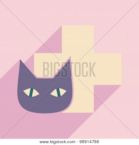 Flat with shadow icon and mobile application cat veterinary