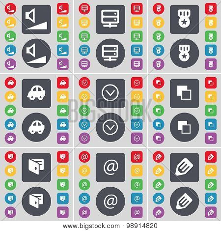Volume, Server, Medal, Car, Arrow Down, Copy, Wallet, Mail, Penc Icon Symbol. A Large Set Of Flat, C